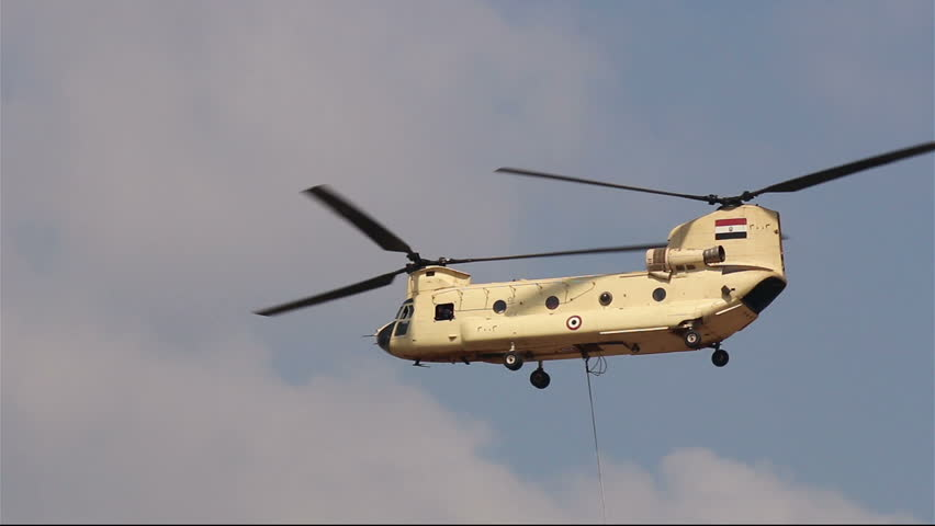 Cairo. Egypt. 6 October 2014. Helicopter CH-47 Chinook at the airshow in Cairo. Egypt