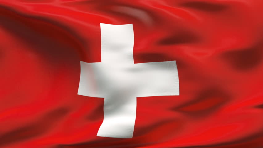 Creased Swiss satin flag with visible wrinkle and seams - HD stock footage clip