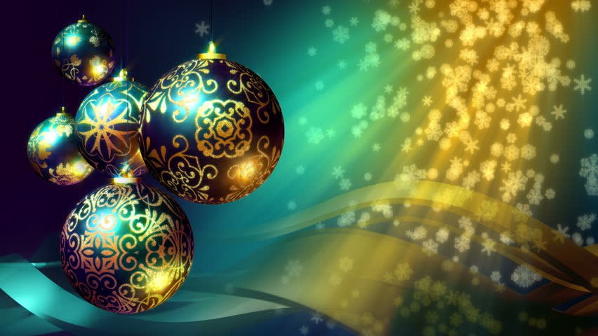 Christmas background loop rotating christmas decorations for Christmas tree with gold and blue ornaments