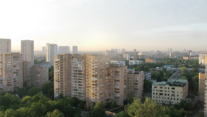 Sunrise in the district of Moscow at summer. Time lapse. - HD stock video clip