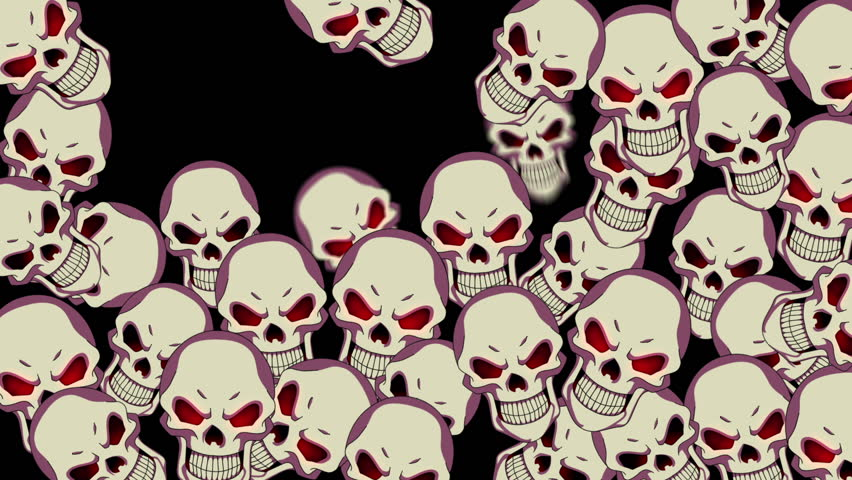 HD animated background featuring bouncy creepy skull particles. - HD stock video clip