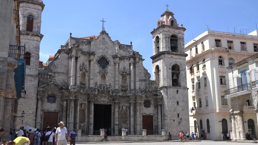 HABANA,CUBA-JULY 4, 2014: Catholic Cathedral in the core of Old Havana. Old Havana is a UNESCO World Heritage Site and contains the core of the original city of Havana. - 4K stock footage clip