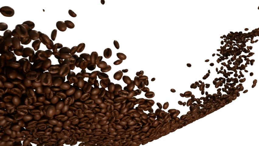 Coffee beans flow with slow motion over white