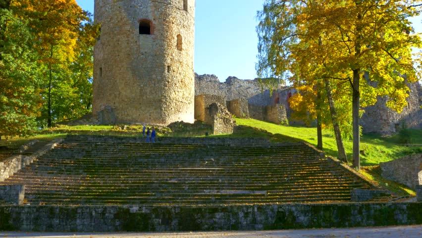 Autumn day in a park near Cesis castle , Latvia