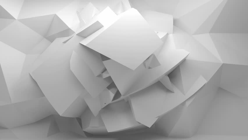 Endless full-hd motion loop. Moving abstract 3d white background with chaotic polygonal structure on the wall in empty digital interior