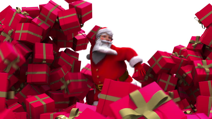 Santa Claus crashes through presents and waves to camera