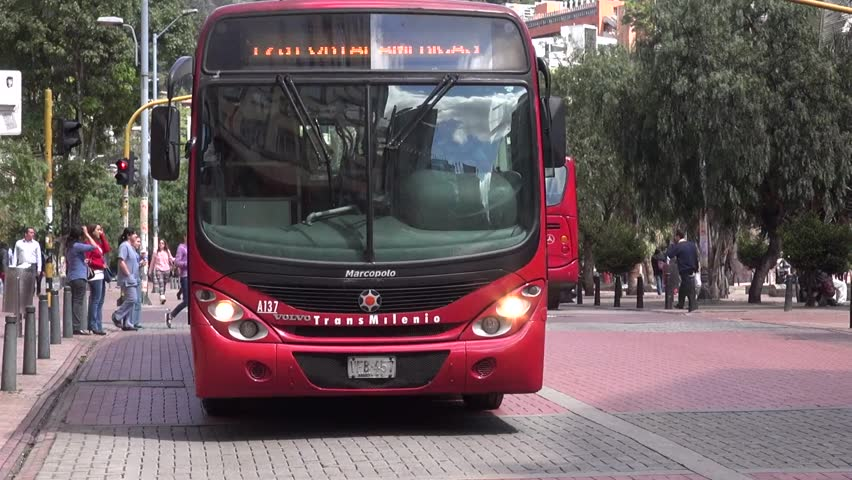 BOGOTA, COLOMBIA -FEBRUARY 16 2014: Public Transportation in Third World Nation  on February 16 2014 in Bogota, Colombia