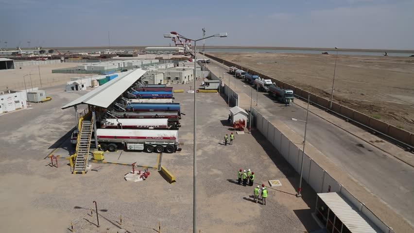 Basra, Iraq, October 2014: Pan Shot of Modern Oil Terminal Located in Basra, Iraq, October 2014.
