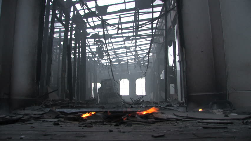 Smoking Ruins of Destroyed Building