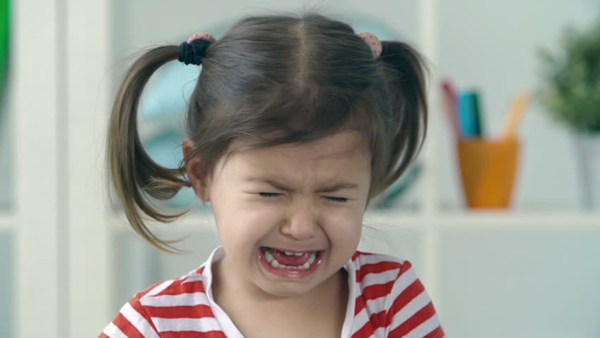 Portrait of little girl crying and sobbing