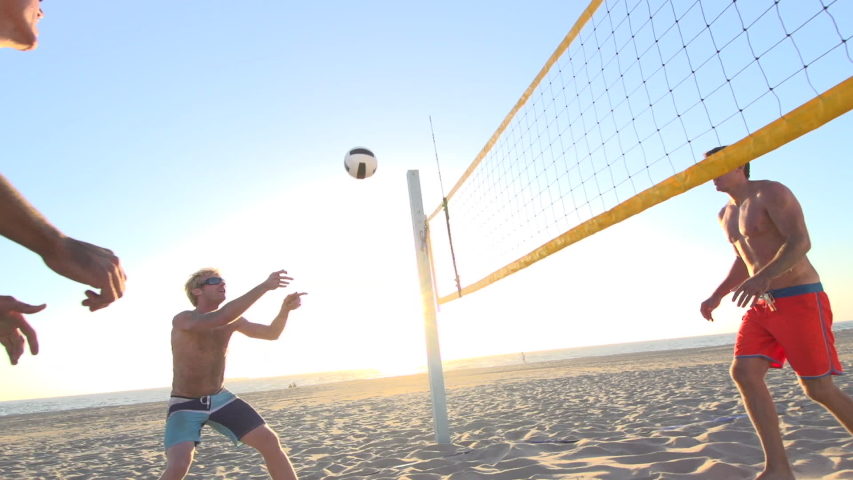playing beach volleyball. - Model Released - 1920x1080 - HD