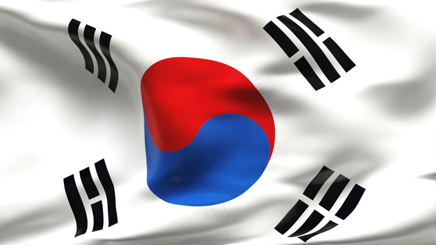 Creased SOUTH KOREAN flag in slow motion with visible wrinkles and seams - HD stock video clip