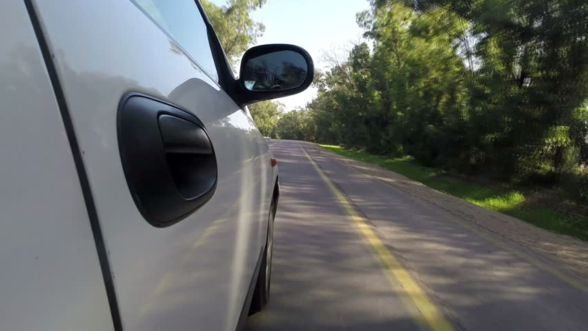 Car driving, Side view.