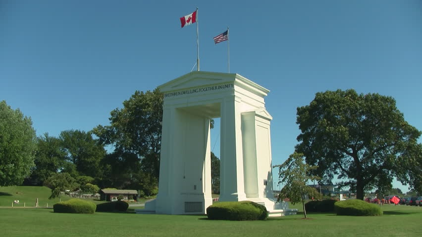 Peace Arch Park Canadian American Border - HD stock video clip