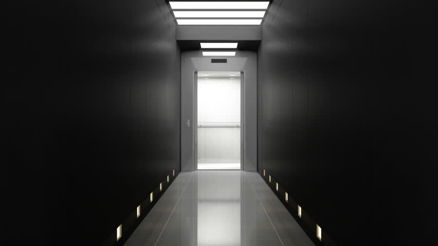 Seamless Looping Animation of Modern Elevator in the Luxury Corridor Interior. HQ Video Clip. 3D Rendering