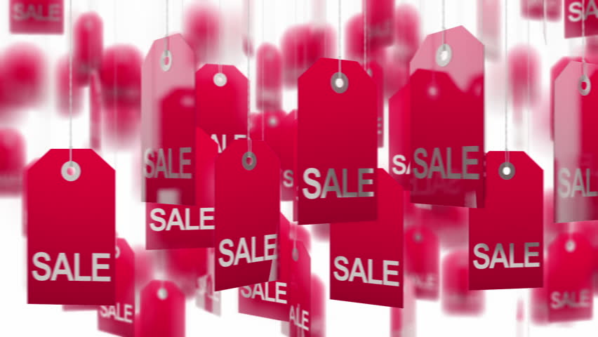 Sale tags White background, loop ready. Alpha matte. You can change color of tags or background.