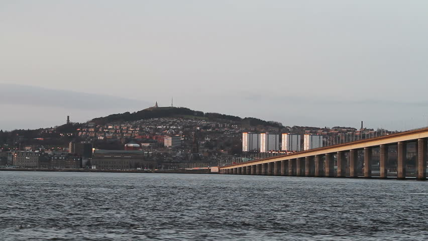 Tay Road Bridge and Dundee Waterfront Scotland - HD stock footage clip