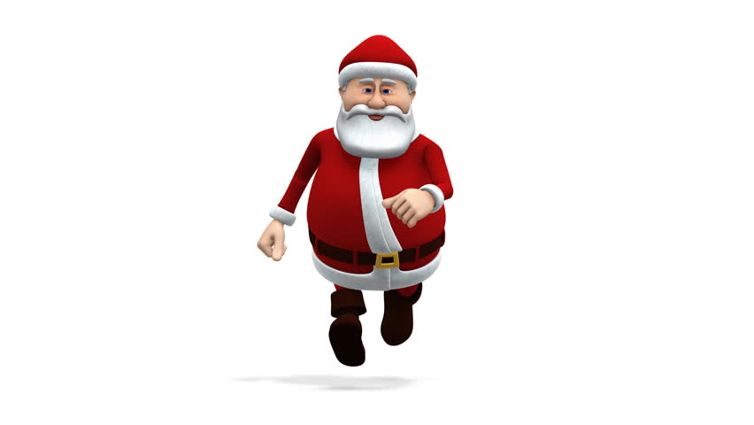 cartoon santa claus running - loopable 3d animation - alpha mask and separate shadow pass included - HD stock video clip