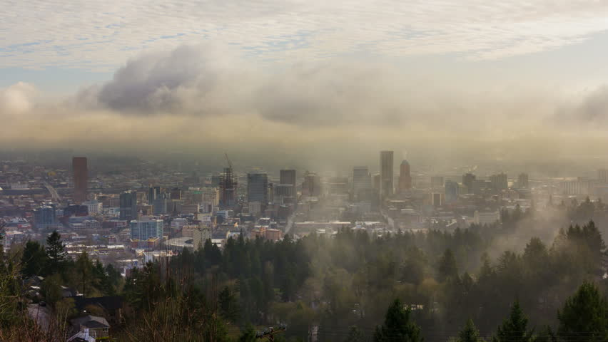 Time Lapse Movie of Moving Clouds and Low Fog over Downtown City of Portland Oregon One Early Morning 1920x1080 - HD stock video clip