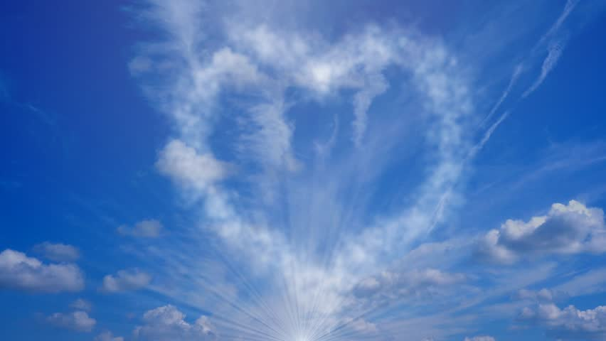 valentines heart blue background sky clouds - 4K stock footage clip
