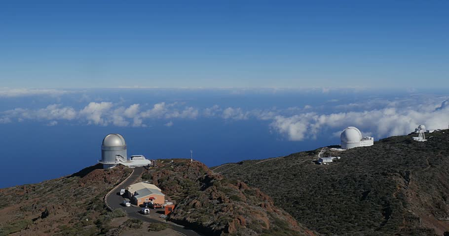 4k; Majestic view at Roque De Las Muchachos, La Palma Observatory
