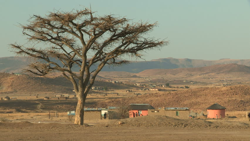 Rural African Mountain desert Village - HD stock footage clip