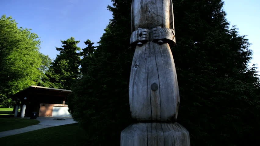 Vancouver Indian Totem Pole Thunderbird Park sculpture Indigenous Culture Hand carving tribal British Columbia Canada - HD stock video clip