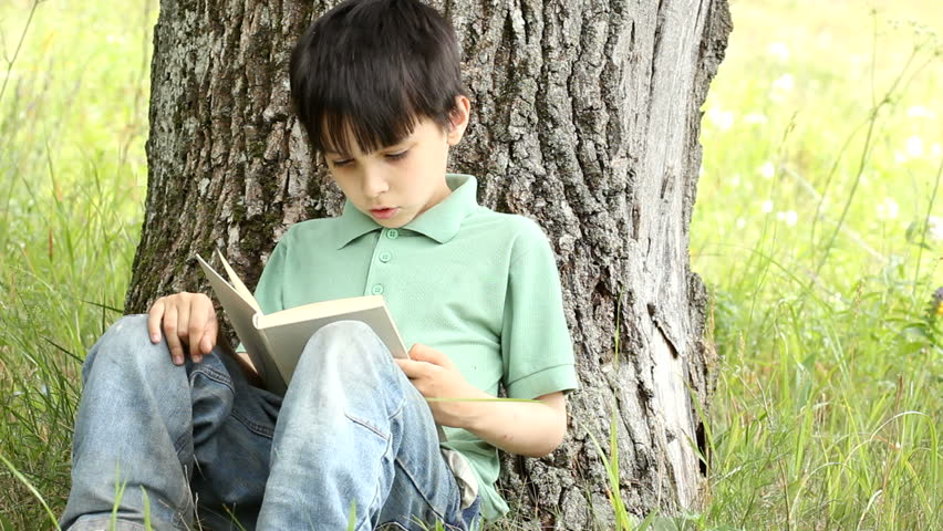 boy reads book outdoors. - HD stock video clip