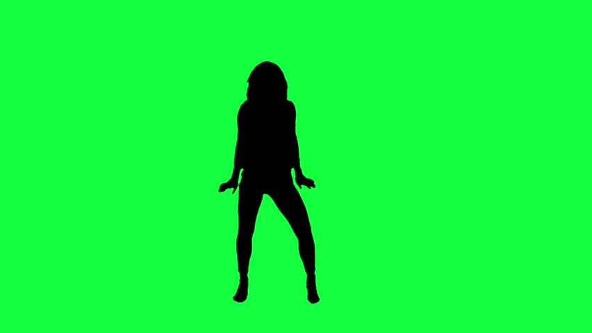 Dancer's silhouette against a green background