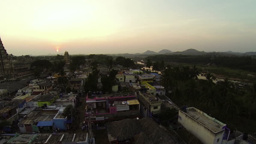 People from the Indian village of Hampi. aerial view.