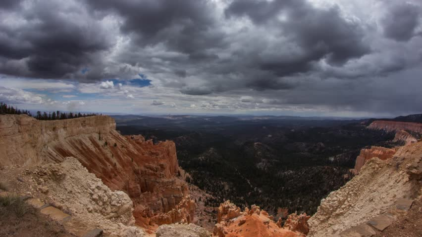 Time lapse of storm clouds above Bryce Canyon National Park in Utah, United State