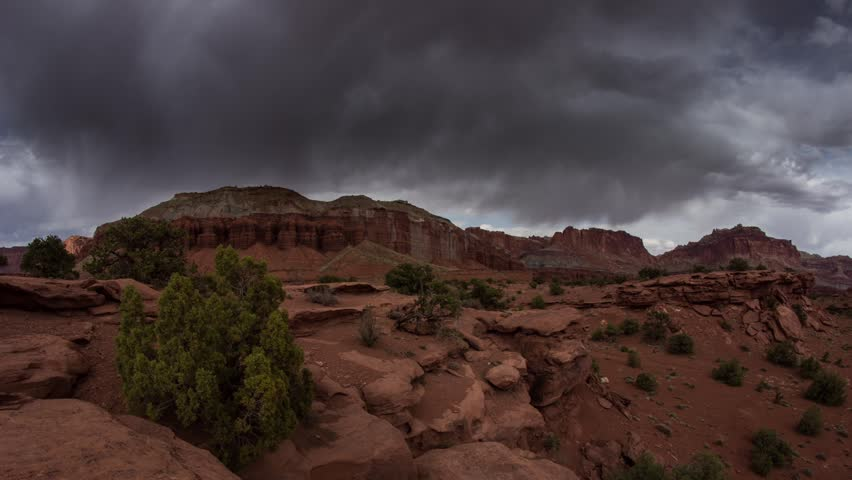 Time lapse storm clouds movement with sunlight at Capitol ReefCapitol Reef National Park in Torrey, Utah