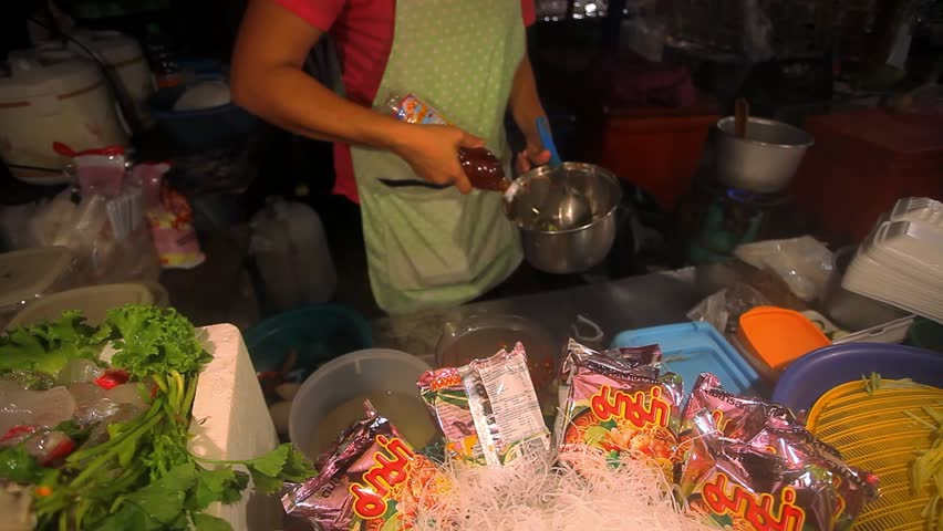 Koh Samui, Thailand 15 july, 2014,  Food Market. Cook prepares the night market noodle soup. HD. 1920x1080 - HD stock footage clip
