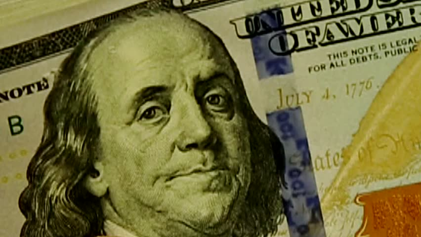 Benjamin Franklin close-up on the 100 Dollar