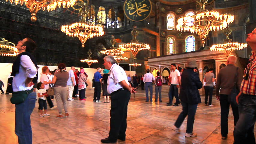 ISTANBUL - MAY 16, 2013:  Interior of Hagia Sophia Museum. Basilica is a world wonder in Istanbul since it was built in 537 AD.