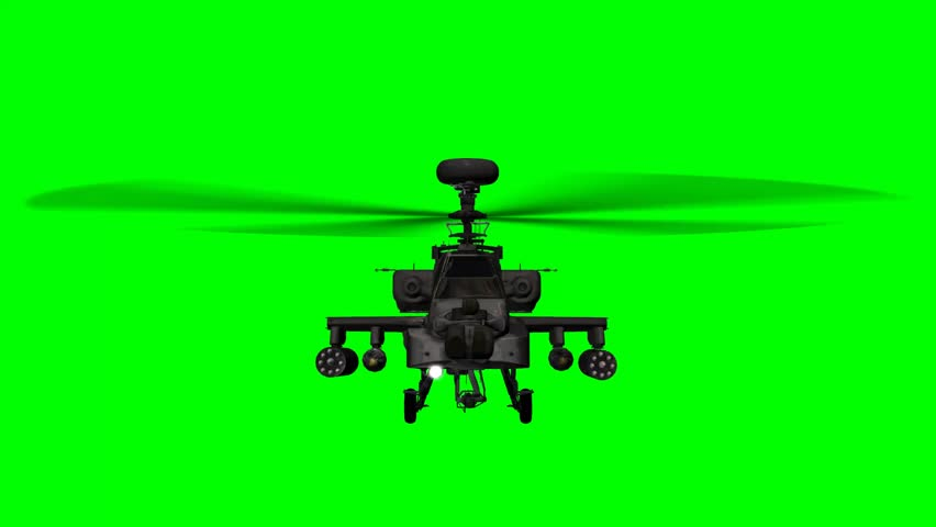 armed Helicopter AH-64 Apache in fly - green screen
