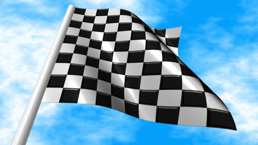 Checkered Racing Flag Waving On A Blue Sky Background ...