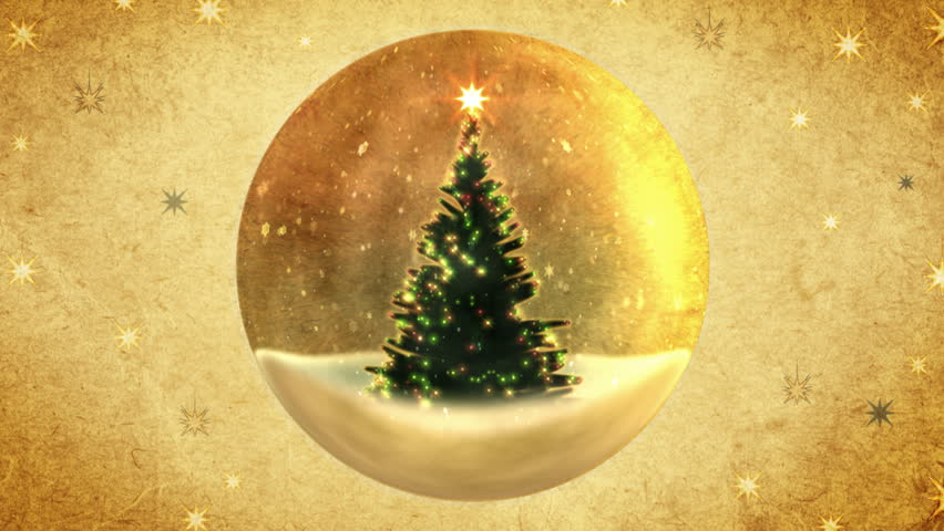 Christmas tree in a crystal ball.Retro style. - HD stock footage clip