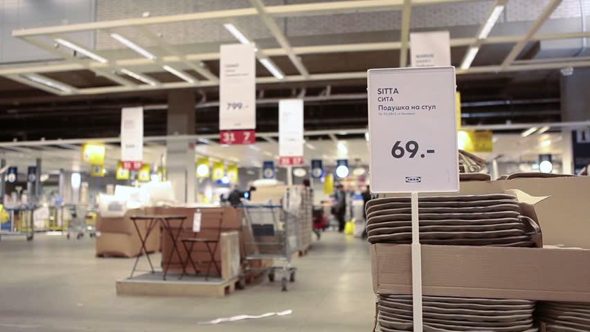 russia circa jan 2015 prices plates are in ikea marketplace ikea