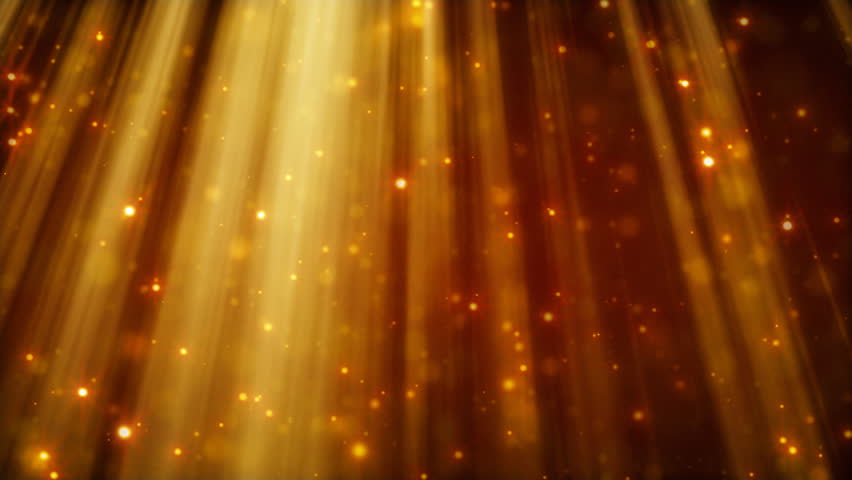 loopable background flying golden particles in light beams - HD stock video clip
