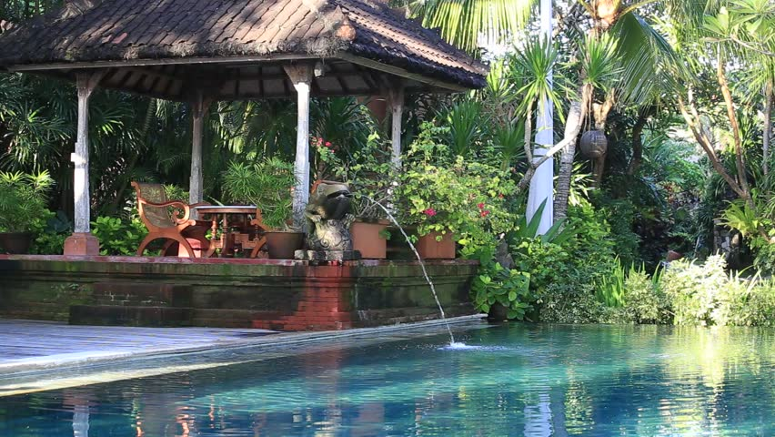 Beautiful villa with swimming pool in bali stock footage for Green garden pool jakarta