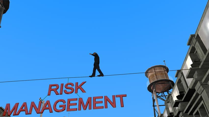 Businessman Tightrope over Risk Management text.