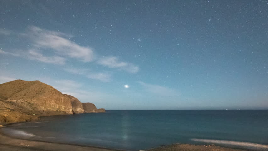 star lapse of cabo de gata coast at night using the amazing low light sony a7s which makes night time look like day.