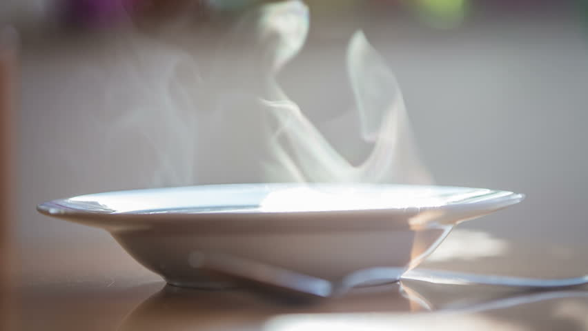 Steam From Soup ~ Hot soup steam close up shot with sun shining through