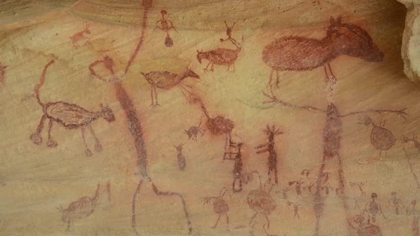 Prehistoric painting in the National Brasilian Park Serra da Capivara, Brazil