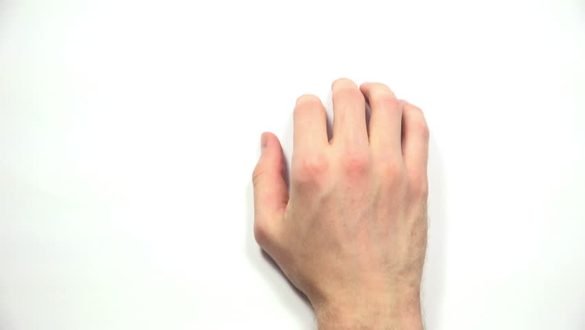 Top View of Male Waiting Hand Finger Tapping on white background. 4K Ultra HD 3840x2160 Video Clip