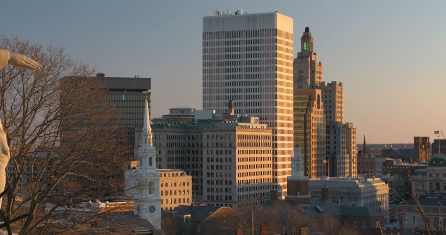 Providence, RI skyline from Prospect Park overlook - 4K stock footage clip