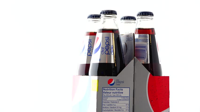 TORONTO,CANADA-MARCH 28,2015: Pepsi Cola is a carbonated soft drink that is produced and manufactured by PepsiCo which is one of the most valuable brands in the world. illustrative editorial.