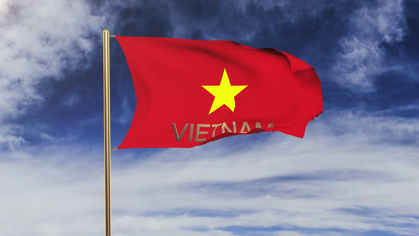 Vietnam flag with title waving in the wind. Looping sun rises style.  Animation loop