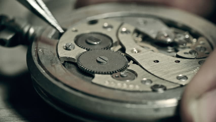 Unrecognizable master fixing watch